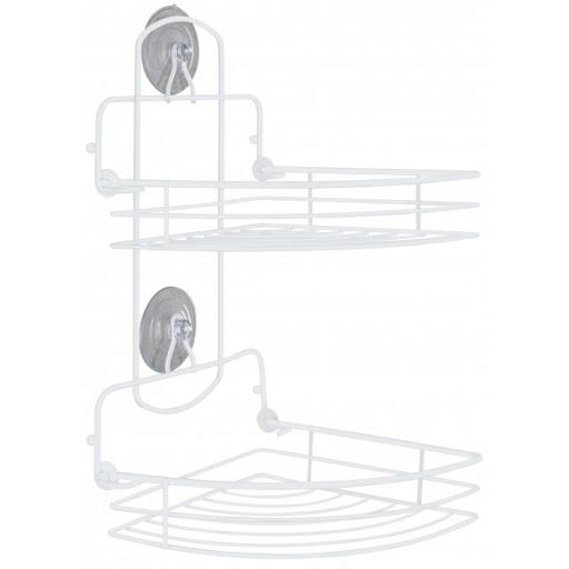 Mensola angolare per doccia pieghevole con due ripiani bianco